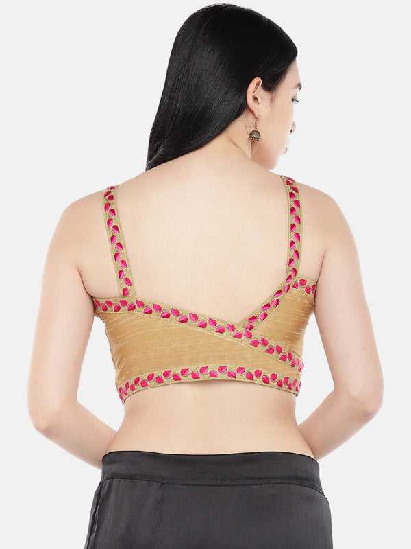 Just B Gold Strapped Padded Dupion Bralet Blouse