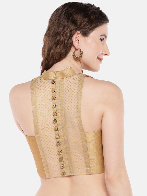 Just B Gold Padded Racer Back with wooden buttons Dupion Blouse