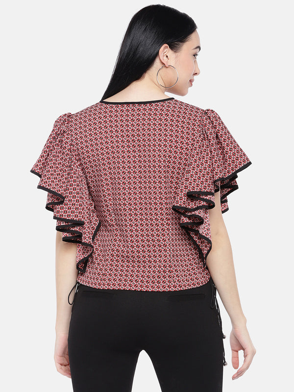 Just B Red And Black Printed Top With Front Keyhole And Ruffles Sleeves