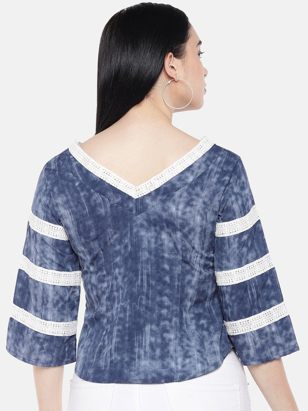 just B Indigo V Neck Top With White Crochet Lace on Neck And Sleeves