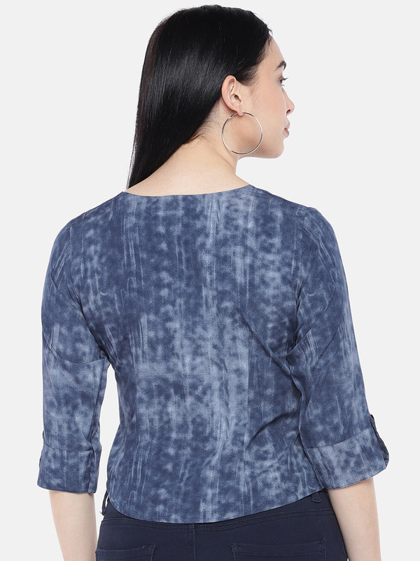 Just B Indigo One Side Knife Pleated Top With Overlap Sleeves