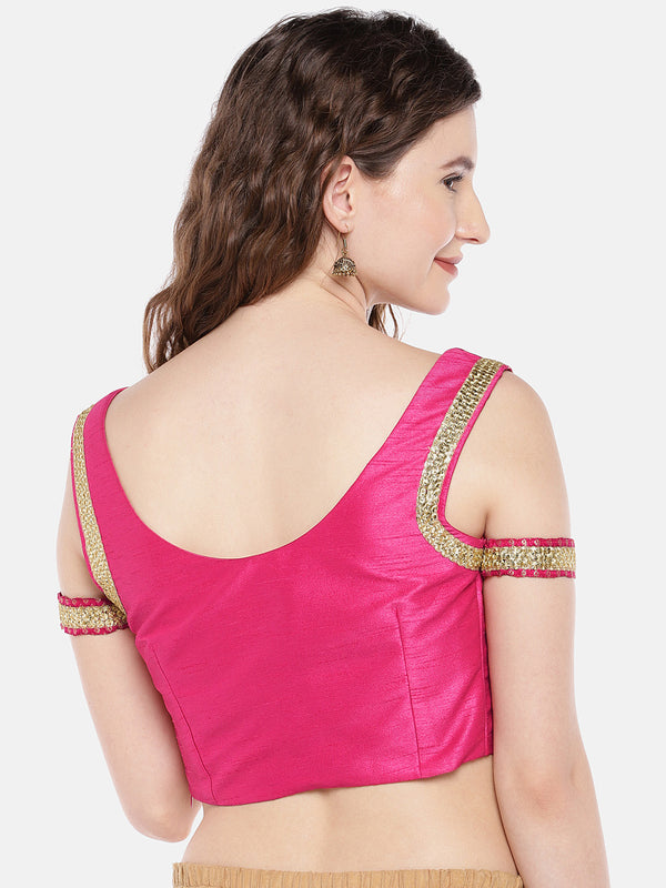 Just B nonpadded pink dupion and brocade cold shoulder round neck readymade blouse