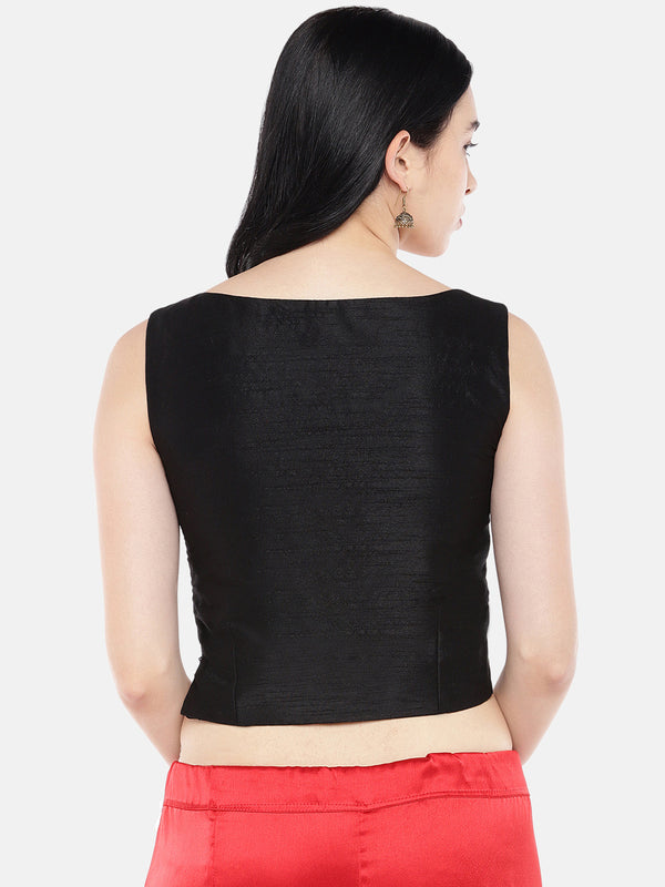 Just B Black Dupion With Red Patola Panel Croptop.
