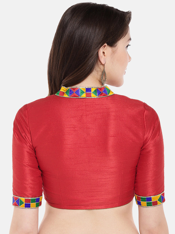 Just B Red Padded Dupion Blouse With Multicolored Lace