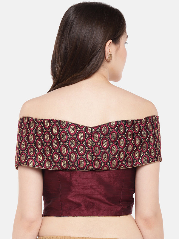 Just B Maroon Padded Dupion multi head embroidery off shoulder Blouse