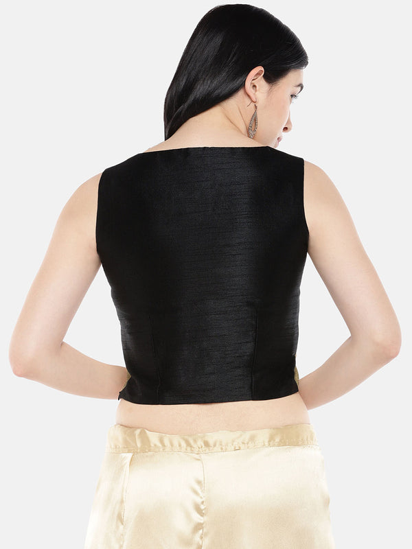 Just B Tussar Chikoo Dupion With Black Panel Croptop.