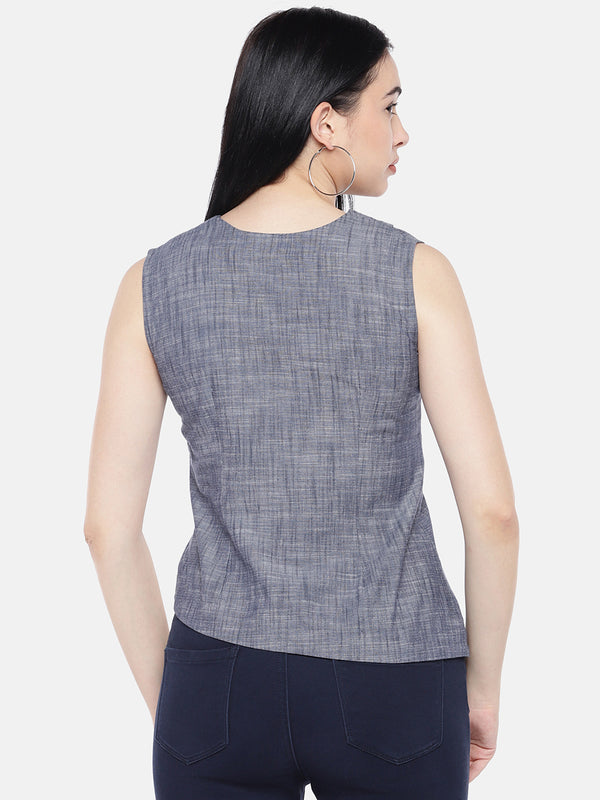 Just B Grey Asymmetric Top With Lapel Neck Collar