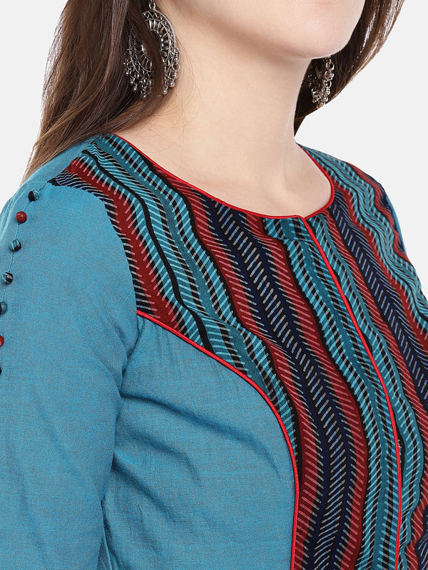 Just B blue and printed cotton Ajrak Blouse With Round Neck Elbow Sleeve .