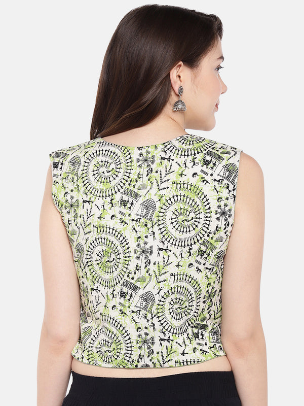 Just B jacket style Reversible Sleeveless blouse of Signature Pista Green Blue Khaadi fabric.