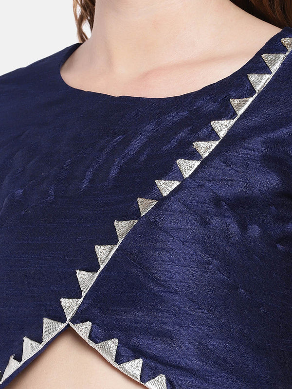 Just B navy blue Raw Silk Round Neck pleated Readymade Blouse