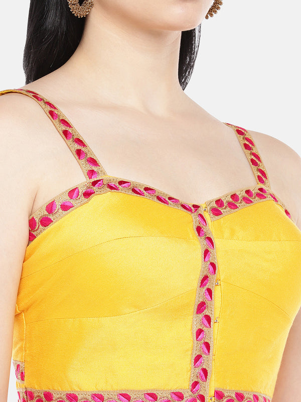 Just B Yellow Strapped Padded Dupion Bralet Blouse
