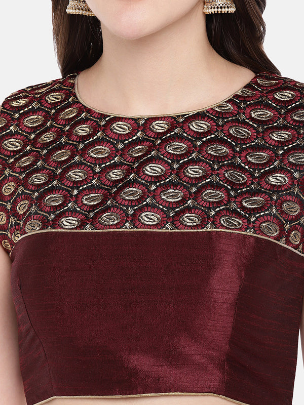 Just B Maroon Padded Dupion multi head embroidery Blouse