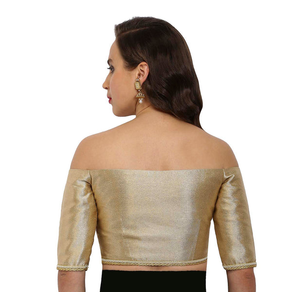 Just B Gold-beige Polyester Sweetheart Neck Readymade blouse