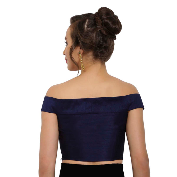 Just B Navy and Cobalt Blue Raw Silk Off-Shoulder Readymade Blouse