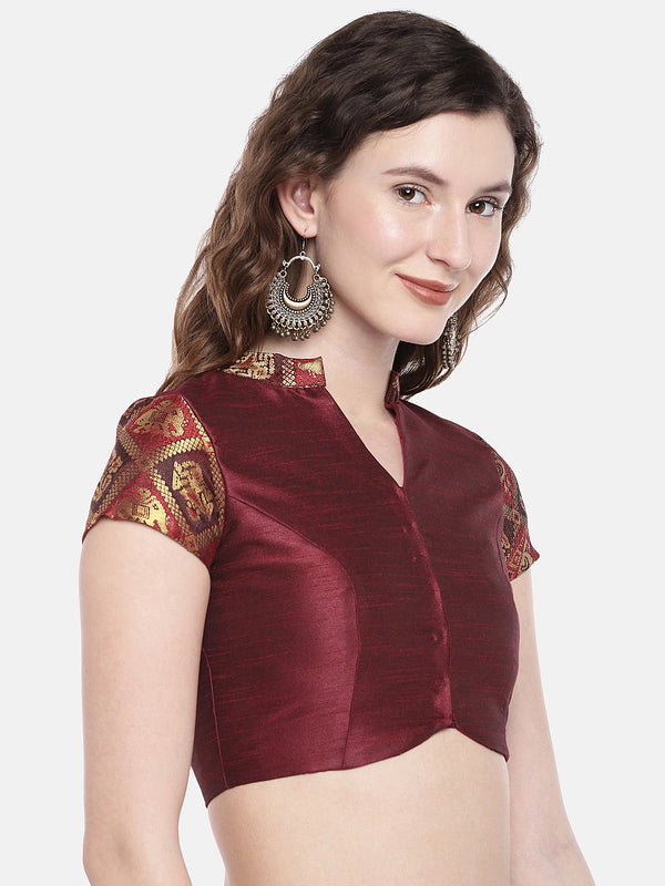 Just B maroon non Padded ethnic patola & slub Silk Blouse