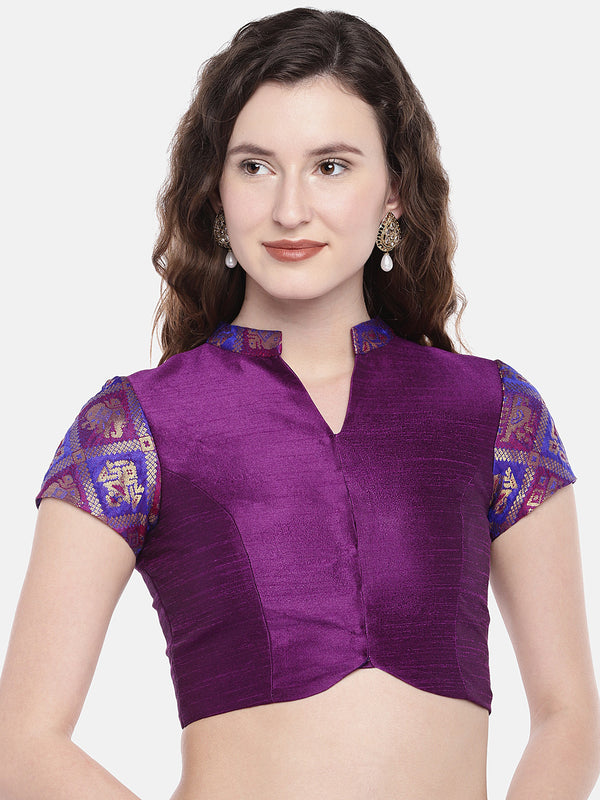 Just B Magenta non Padded ethnic patola & slub Silk Blouse