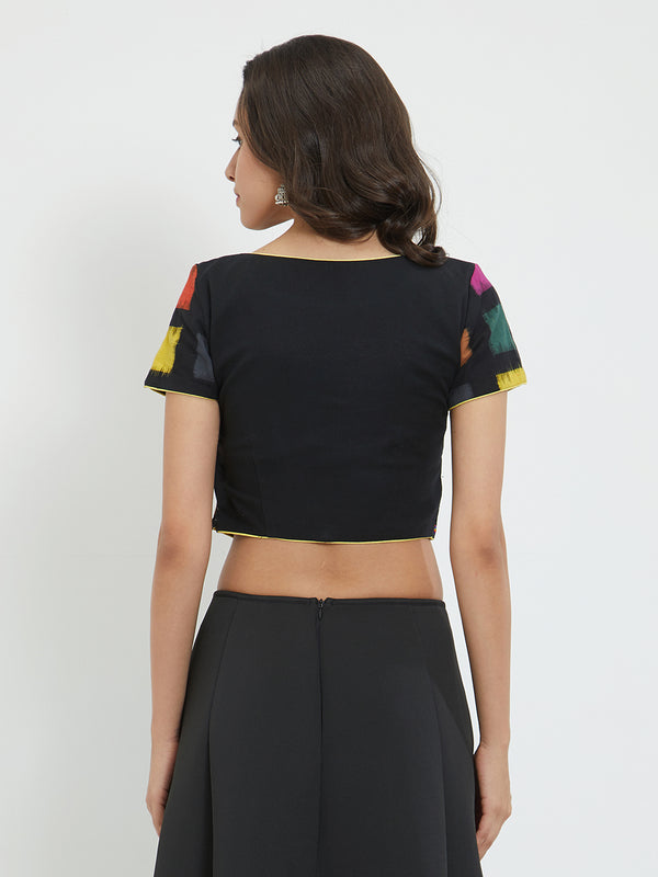 Just B Black Cotton Blouse With Color Block Cap Sleeve