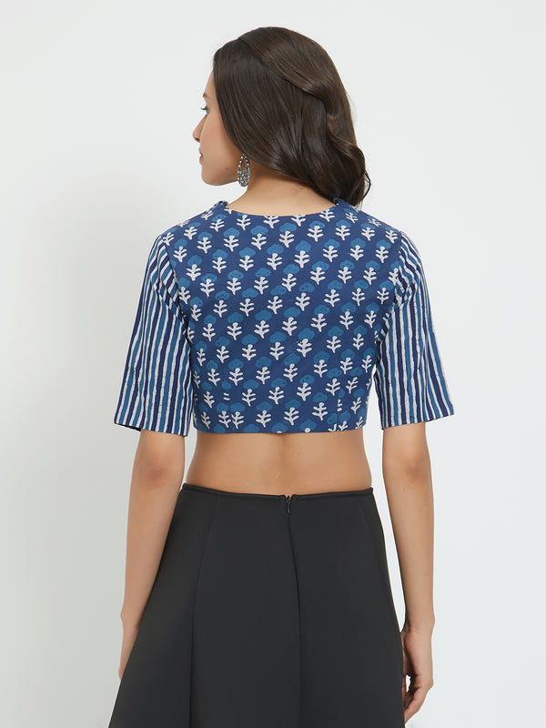 Just B Blue Cotton Collared Blouse With Elbow Sleeve