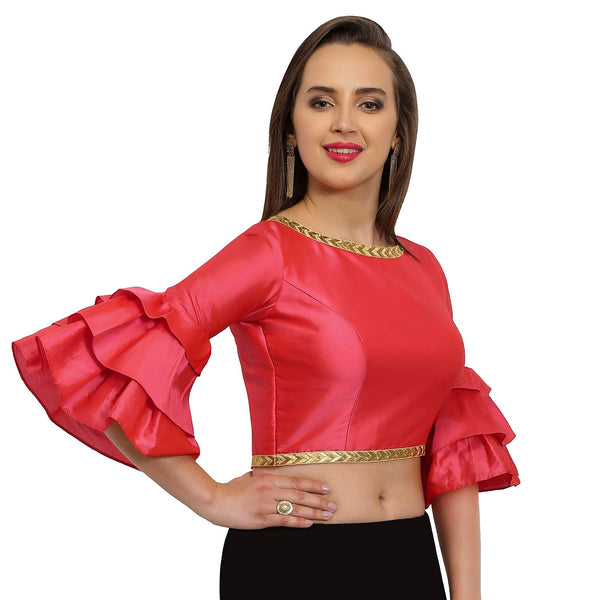 Just B Coral Polysilk Round Neck Readymade blouse
