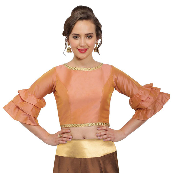 Just B Peach Polysilk Round Neck Readymade blouse