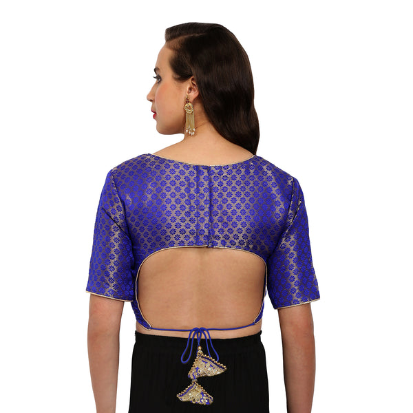 Just B Blue Brocade  Round Neck Readymade Blouse With Triangle Latkan Back