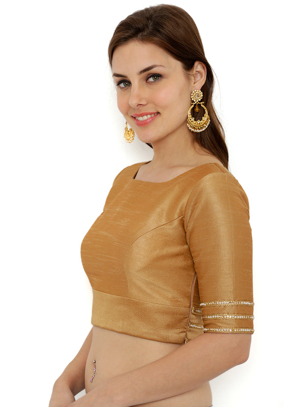 Just B Golden Elbow Length Sleev Dupion Blouse With Lace