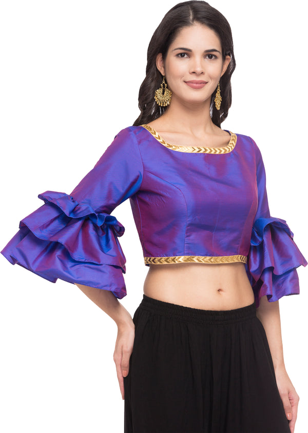 Just B Purple Taffeta Round Neck Readymade Blouse With Freel