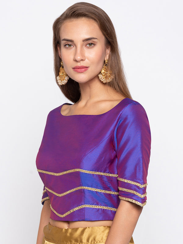 Just B Blue Polysilk Round Neck Padded Blouse