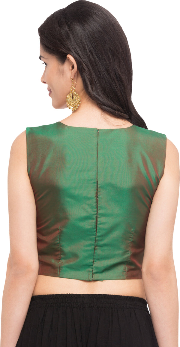 Just B Green Taffeta Readymade blouse with Cross Lace