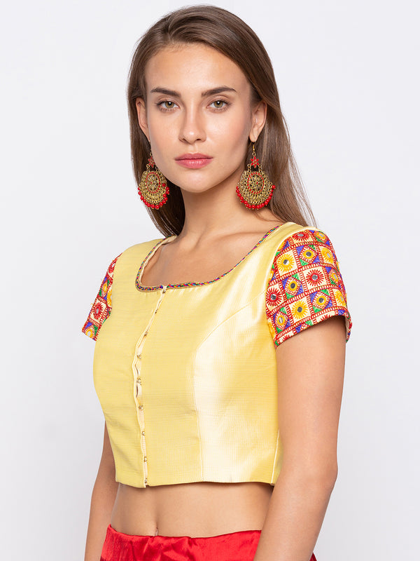 Just B Pre embroidered Round Neck Yellow Padded Blouse
