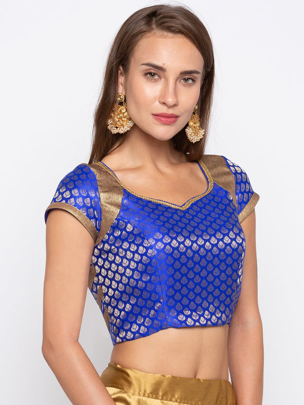 Just B Blue Padded Jacquard & Jute Look Blouse