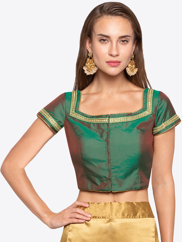 Just B Green Taffeta Padded Blouse With Lace