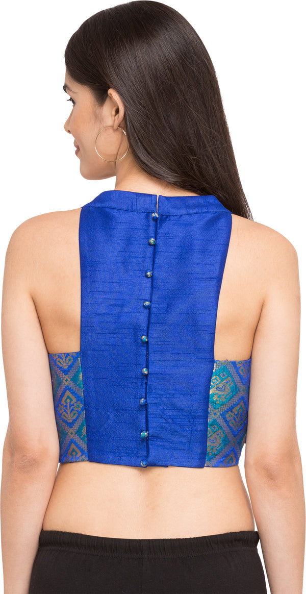 Just B Blue Patola Silk Round Neck Readymade Blouse