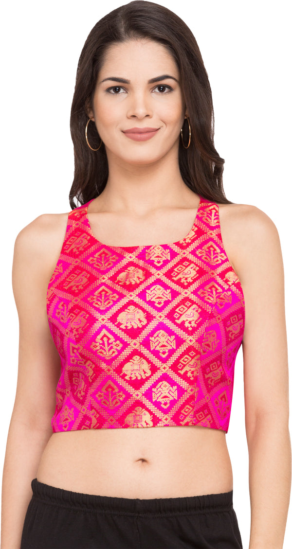 Just B Pink Patola Silk Round Neck Readymade Blouse