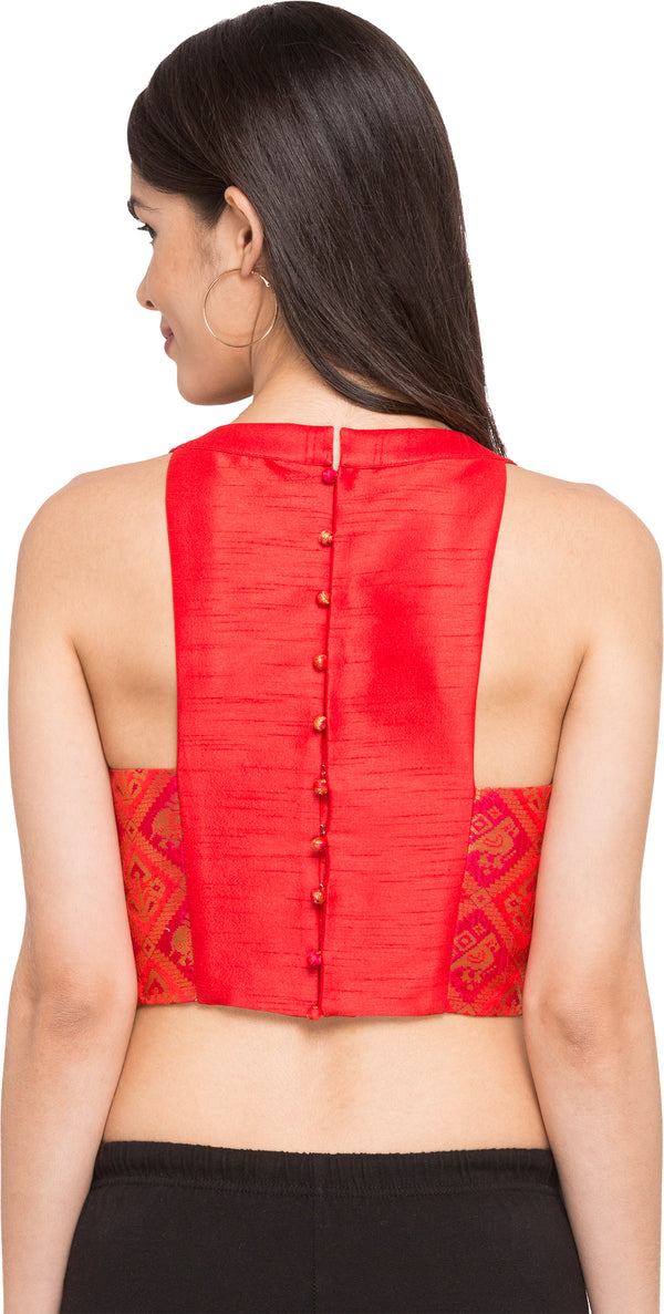 Just B Red Patola Silk Round Neck Readymade Blouse