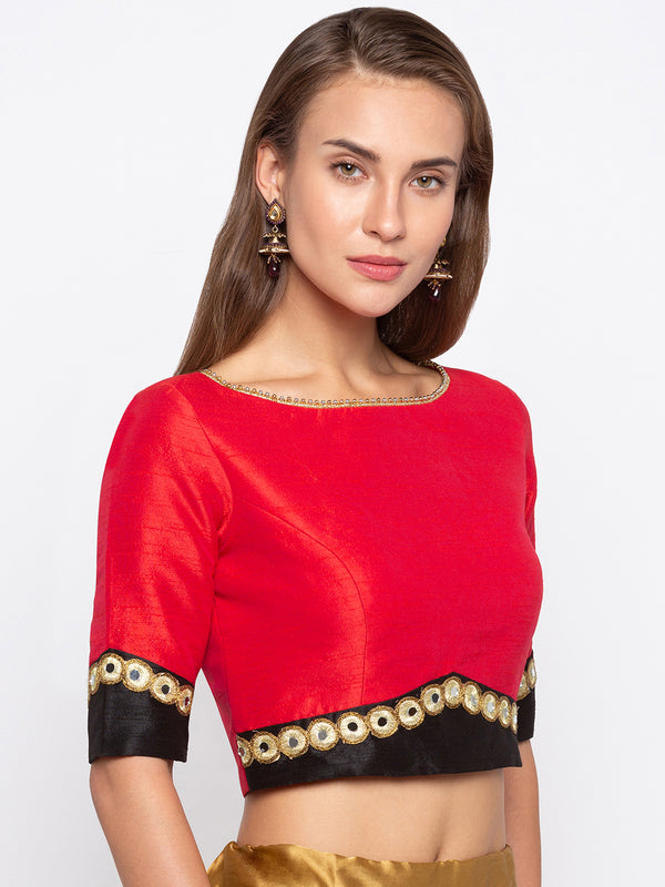 Just B Red Padded Dupion Blouse With Mirrored Lace