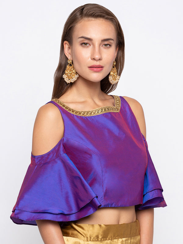 Just B Purple Padded Cold Shoulder Ruffle Sleeve Blouse