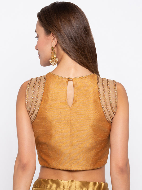 Just B Gold Padded Sleevelees Dupion Blouse