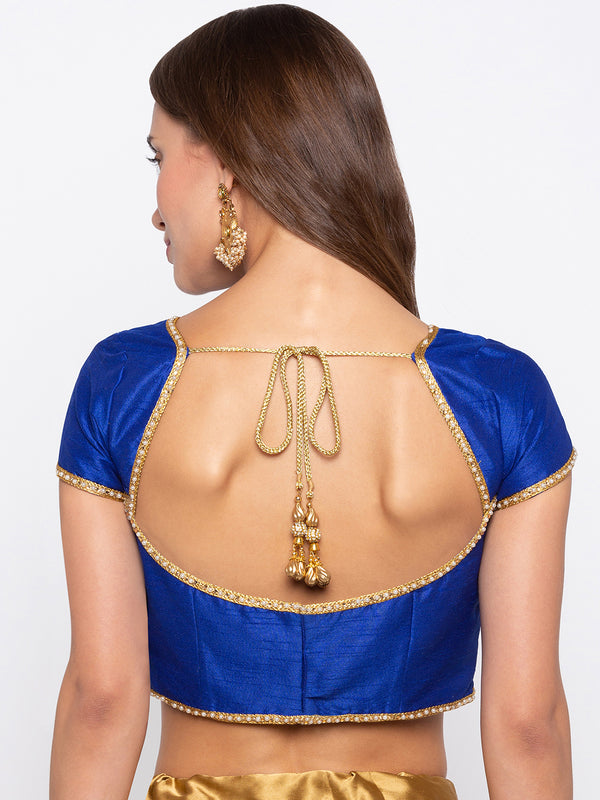 Just B Blue Padded Dupion Blouse With Lace