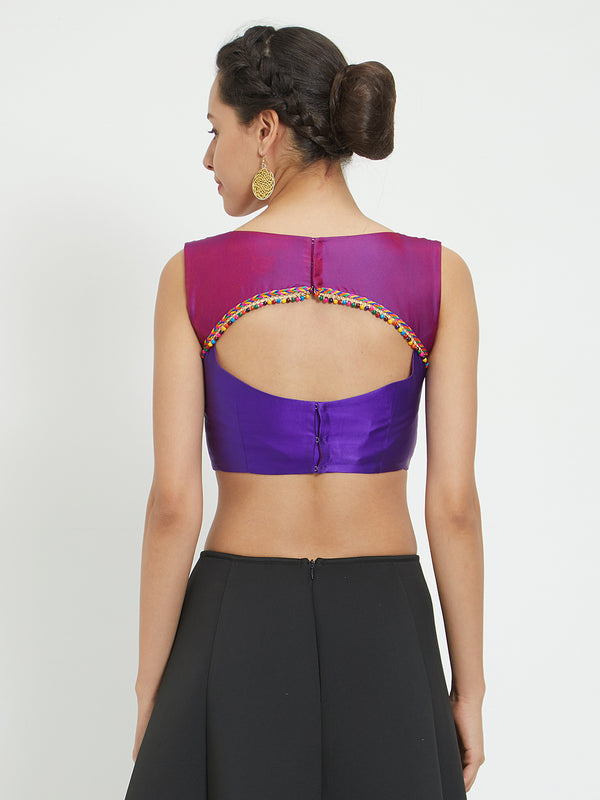 Just B Purple Polytwill Padded Blouse With Beaded Lace