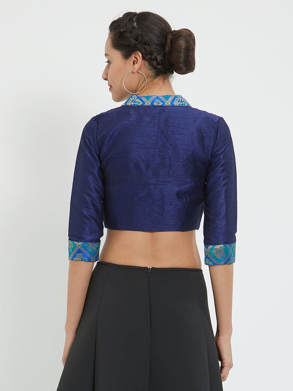 Just B Blue Dupion With Brocade Padded Blouse