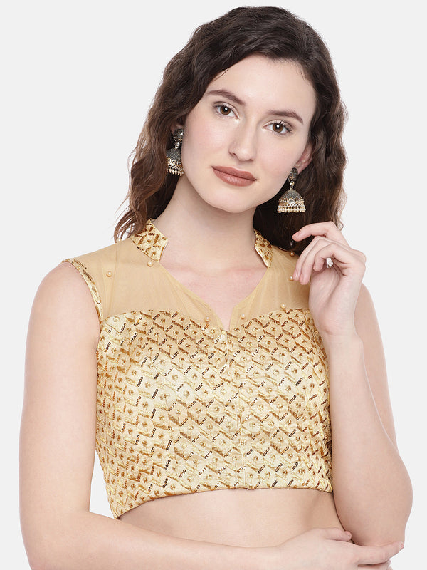 Just B Gold Padded Dupion multi head embroidery Blouse