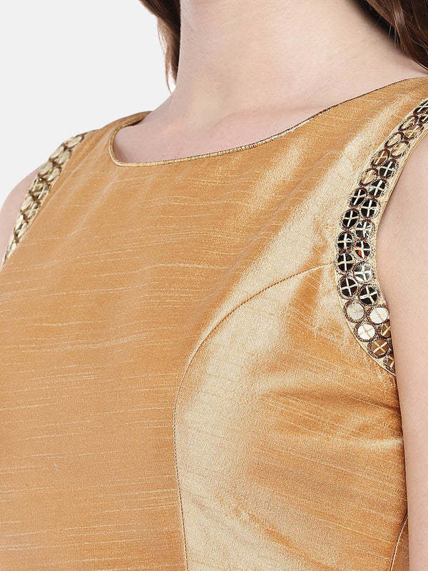 Just B Gold Padded Slub Silk Blouse