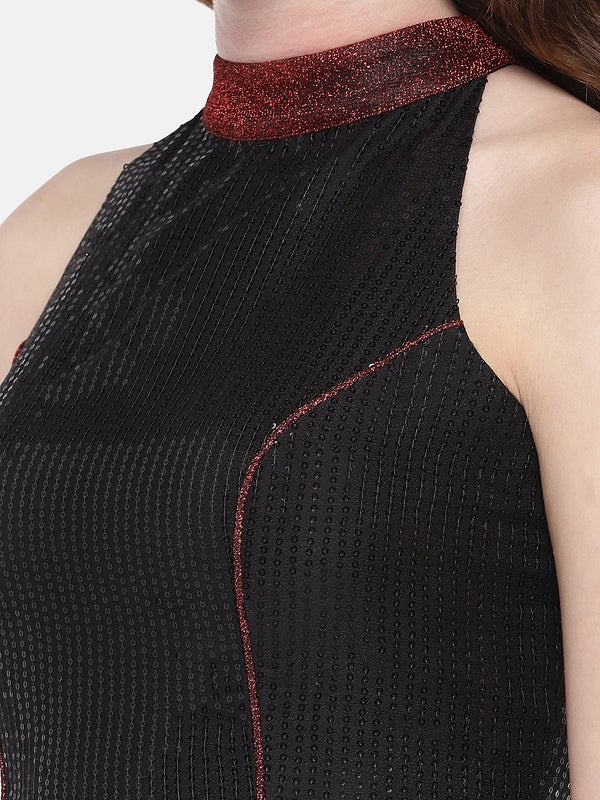 Just B Black georgette sequins Blouse with red lurex straps