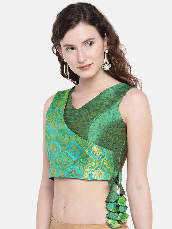 Just B Green Padded Blouse with ethnic patola brocade overlap