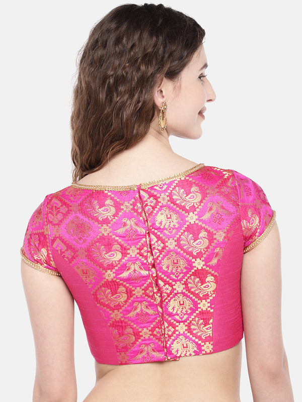 Just B  Pink Padded ethnic patola & dupion Silk Blouse