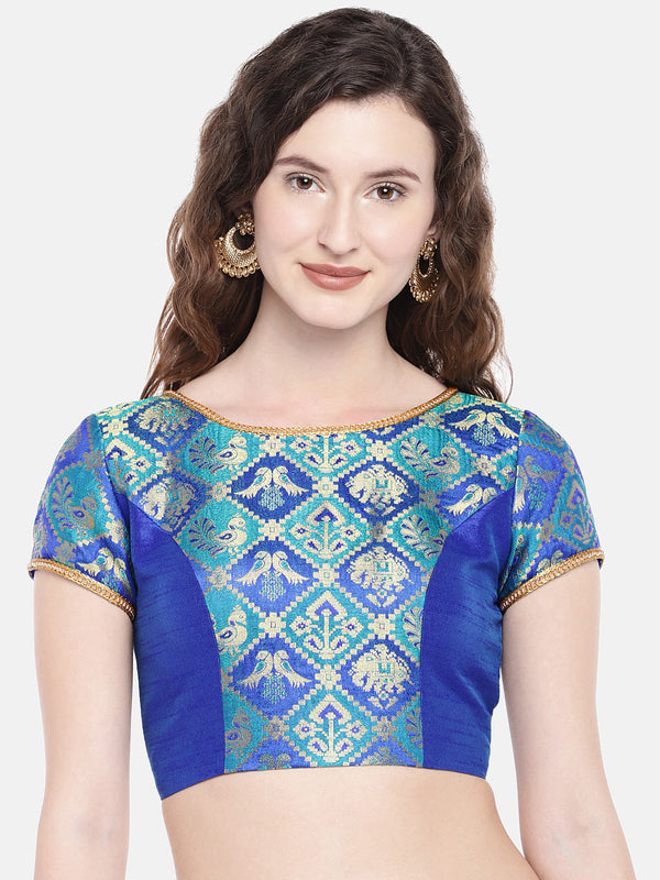 Just B blue Padded ethnic patola & dupion Silk Blouse