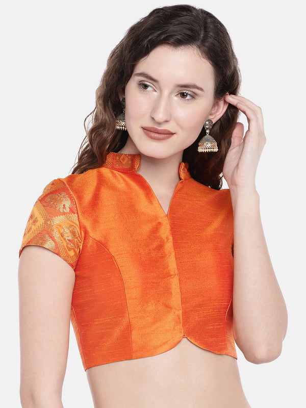 Just B Chandan Padded ethnic patola & slub Silk Blouse