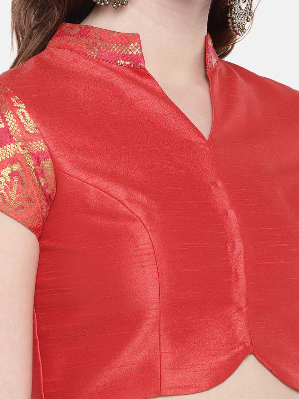 Just B orange non Padded ethnic patola & slub Silk Blouse