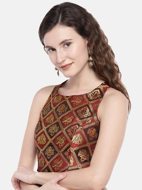 Just B maroon ethnic patola and slub Silk Round Neck Blouse
